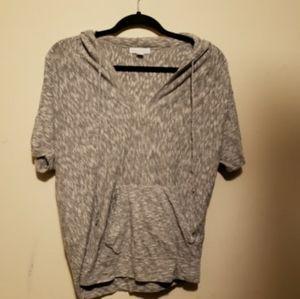 Grey hoodie v-neck shirt